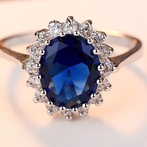New! Sterling Silver Sapphire Princess Diana Ring
